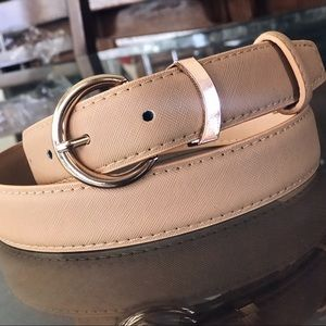 Taupe Gold Classic Round Buckle Belt
